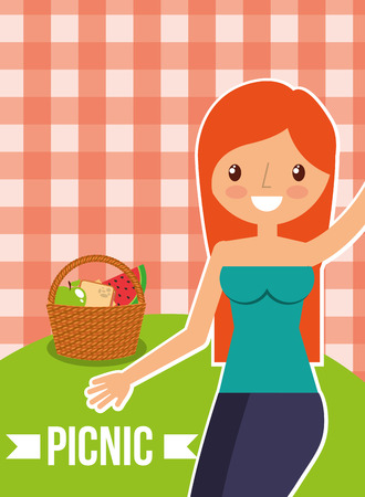 beautiful woman with fruits basket with picnic checkered tablecloth vector illustration