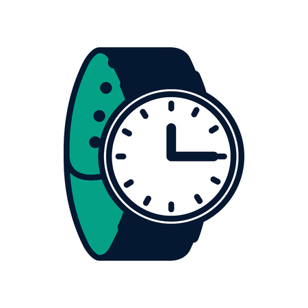 wrist watch time accessory trendy vector illustration green design