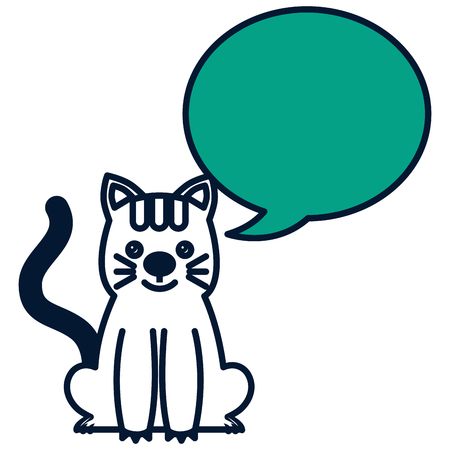 cute kitty sti with speech bubble vector illustration green design Illustration