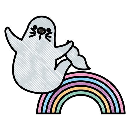 cute seal marine animal with rainbow vector illustration