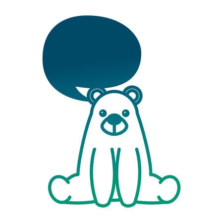 Der süße Bärenteddybär, der mit Chatblasen-Vektorillustration sitzt, verringerte grüne Farbe Standard-Bild - 98790839