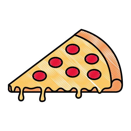 slice pizza tasty cheese pepperoni image vector illustration  イラスト・ベクター素材