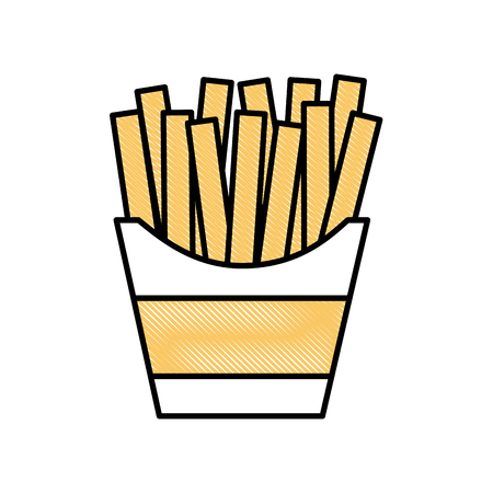 french fries in box fast food image vector illustration