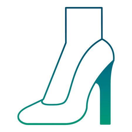 elegant womens high heel shoe foot vector illustration degraded green color