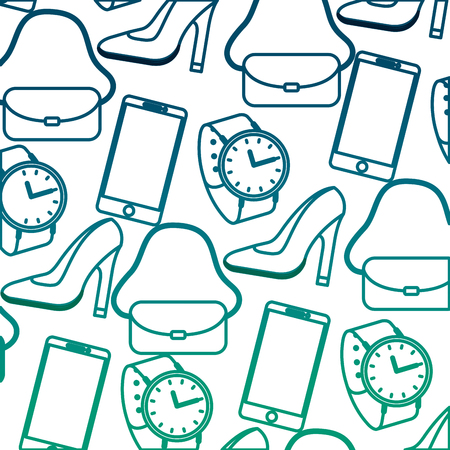 female accessories fashion purse watch high heel shoe mobile pattern vector illustration degraded green color  イラスト・ベクター素材