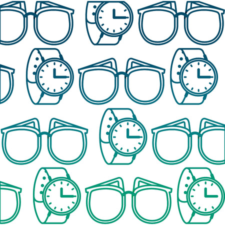 pattern sunglasses wrist watch feminine vector illustration degraded green color