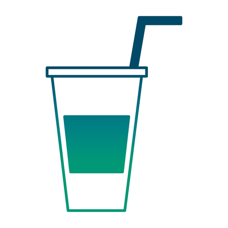 paper cola cup beverage with straw takeaway vector illustration degraded green color Illusztráció