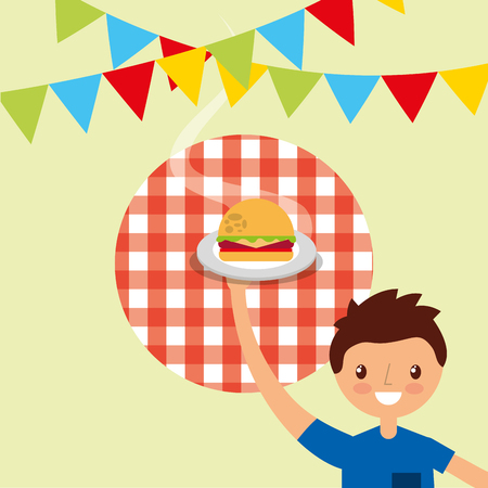 happy young man holding burger with pennant decoration vector illustration