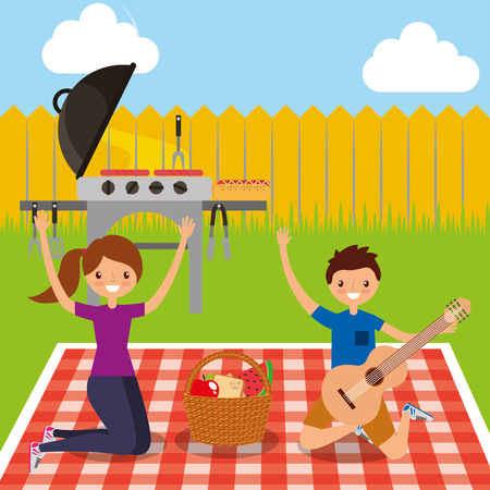 happy couple holding guitar with grill picnic in the backyard vector illustration Stock Illustratie