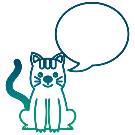 cute kitty sti with speech bubble vector illustration degraded green color