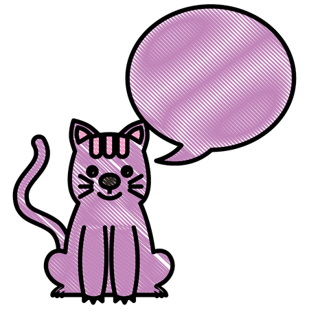 cute kitty sti with speech bubble vector illustration