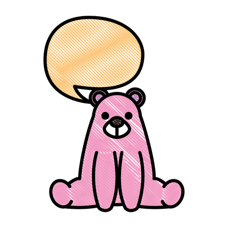 sweet bear teddy sitting with chat bubble vector illustration