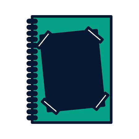 종이 노트 벡터 일러스트와 함께 노트북 나선형 녹색 디자인 일러스트