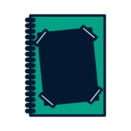 notebook spiral with paper note vector illustration green design Illustration