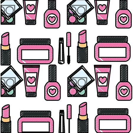 makeup cosmetics glamour nail polish mascara cream eye shadows background vector illustration 일러스트