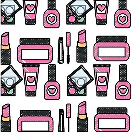 makeup cosmetics glamour nail polish mascara cream eye shadows background vector illustration Çizim