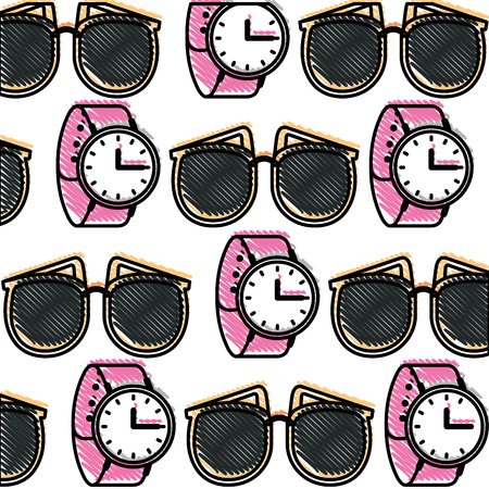 pattern sunglasses wrist watch feminine vector illustration