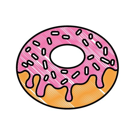 sweet donut dessert pastry chips cream vector illustration Illustration