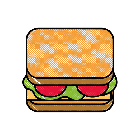 delicious sandwich bread tomato and lettuce vector illustration Иллюстрация