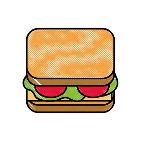 delicious sandwich bread tomato and lettuce vector illustration Stock Illustratie