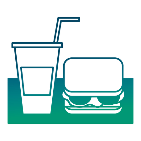 tasty sandwich and soda cup with straw vector illustration degraded green color