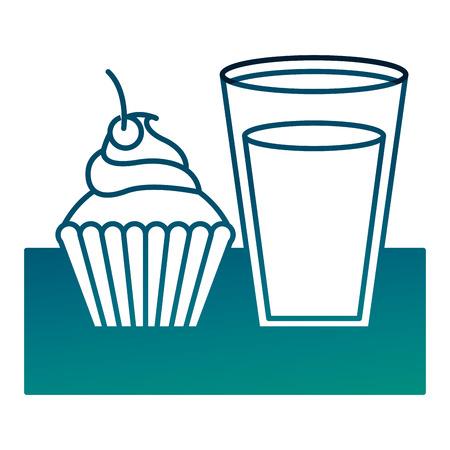 dessert cupcake and milk glass vector illustration degraded green color
