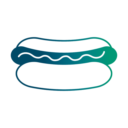 hot dog sausage mustard fast food vector illustration degraded green color