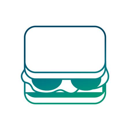 delicious sandwich bread tomato and lettuce vector illustration degraded green color Illustration