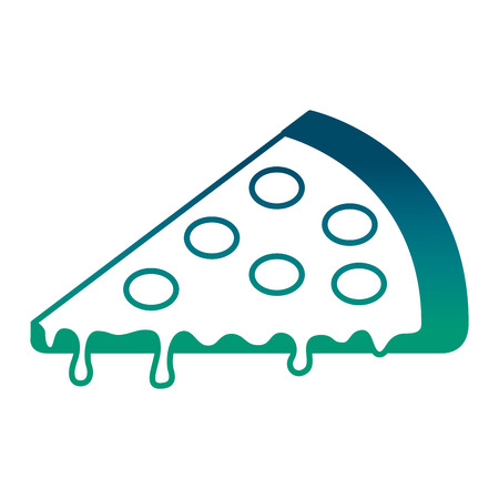 slice pizza tasty cheese pepperoni image vector illustration degraded green color Ilustração
