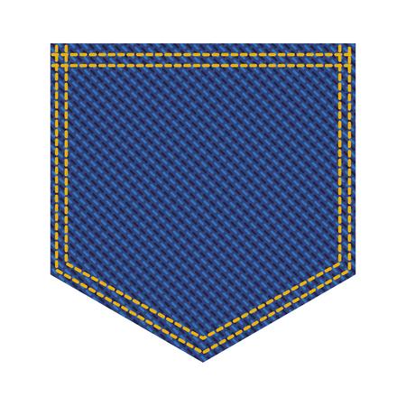 Diseño de ilustración de vector de icono de bolsillo de parche de jean