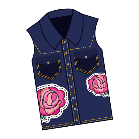 female vest in jean with roses patch vector illustration design