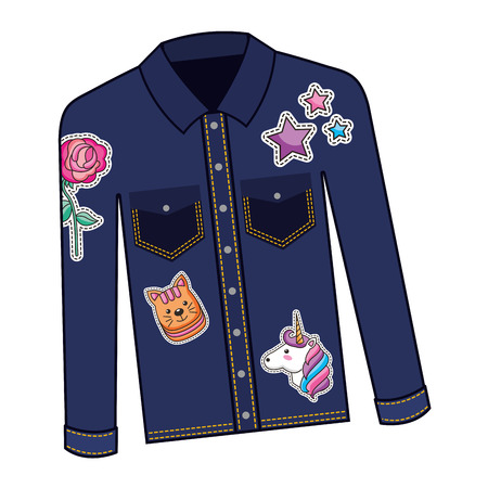 female jacket in jean with set patchs vector illustration design