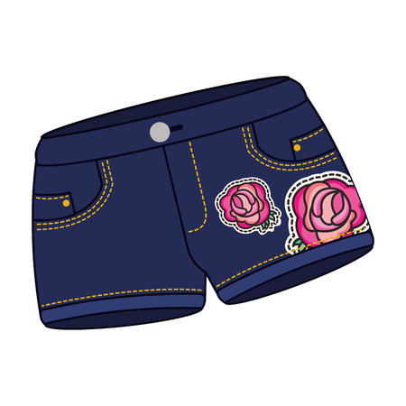 female shorts in jean with roses patch vector illustration design Stock Illustratie