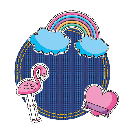 jean patch with flemish and rainbown vector illustration design Illustration