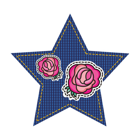 jean patch with star and roses vector illustration design