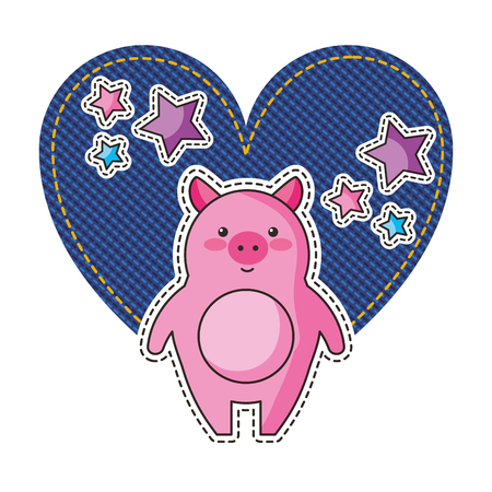 jean patch with heart and pig vector illustration design Illustration