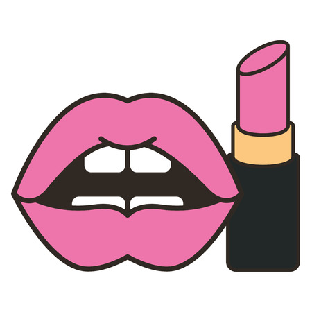 lips feminine with lipstick make up vector illustration design