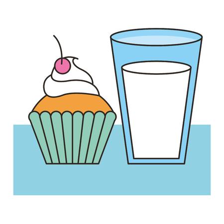 delicious cup cake with milk vector illustration design Ilustração