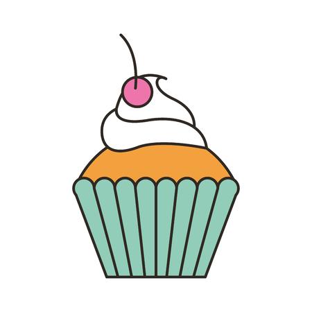 delicious cup cake icon vector illustration design