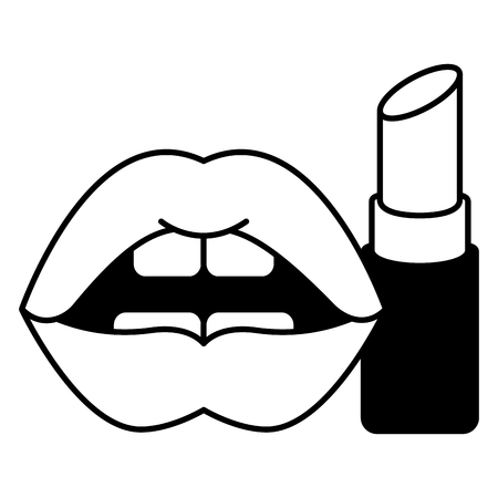 lips femenine with lipstick make up vector illustration design