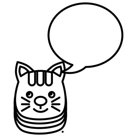 cute little cat with speech bubbles vector illustration design Illustration