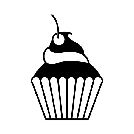Delicious cup cake icon vector illustration design Ilustração