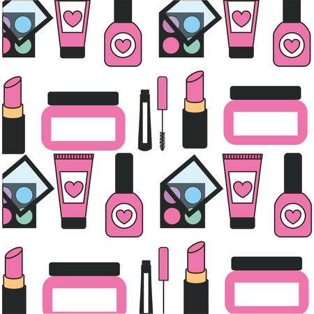 Establecer el diseño de ilustración de vector de fondo de patrón de productos de maquillaje Foto de archivo - 98906312
