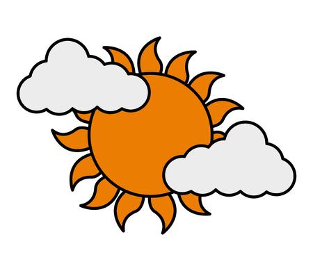 Clouds sun summer season weather vector illustration