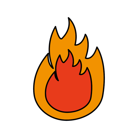 Fire flame burning hot danger image vector illustration