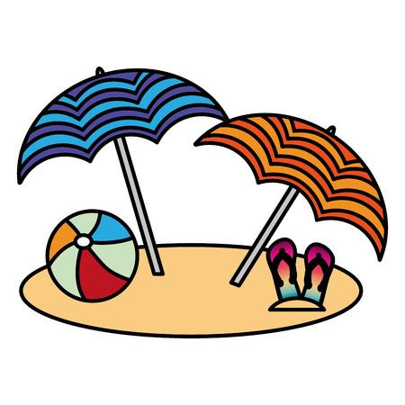 Strand zwei Regenschirm Ball und Flip Flops Vektor-Illustration Standard-Bild - 98908987