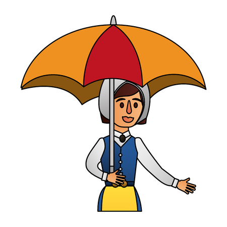 Cartoon woman in swedish clothes holding umbrella vector illustration