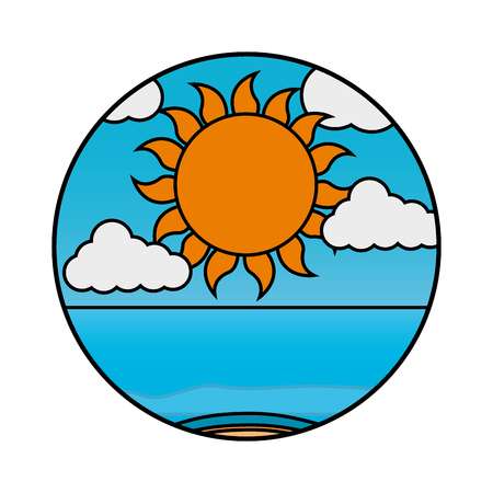 Clouds sun summer beach sea vector illustration