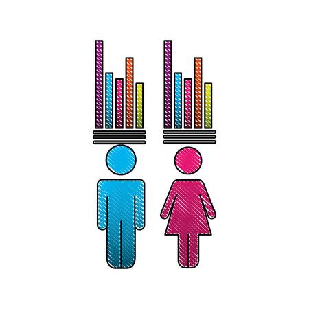 Pictogram man woman bar statistics demographic vector illustration