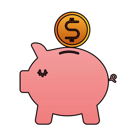 Bank piggy safe money coin icon vector illustration